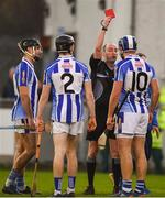 18 November 2018; Referee Justin Heffernan shows Conal Keaney of Ballyboden St Enda's a red card during the AIB Leinster GAA Hurling Senior Club Championship semi-final match between Ballyboden St Enda's and Coolderry at Parnell Park, in Dublin. Photo by Sam Barnes/Sportsfile