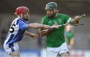 18 November 2018; Martin Corcoran of Coolderry in action against Niall McMorrow of Ballyboden St Enda's during the AIB Leinster GAA Hurling Senior Club Championship semi-final match between Ballyboden St Enda's and Coolderry at Parnell Park in Dublin. Photo by Sam Barnes/Sportsfile