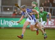 18 November 2018; Luke Corcoran of Ballyboden St Enda's in action against Kevin Connolly of Coolderry during the AIB Leinster GAA Hurling Senior Club Championship semi-final match between Ballyboden St Enda's and Coolderry at Parnell Park in Dublin. Photo by Sam Barnes/Sportsfile