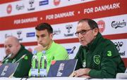 18 November 2018; Republic of Ireland manager Martin O'Neill and Seamus Coleman during a Press Conference at Ceres Park in Aarhus, Denmark. Photo by Stephen McCarthy/Sportsfile