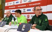 18 November 2018; Republic of Ireland manager Martin O'Neill and captain Seamus Coleman during a press conference at Ceres Park in Aarhus, Denmark. Photo by Stephen McCarthy/Sportsfile