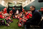18 November 2018; Cork manager John Meyler and his players in the dressing room before the Aer Lingus Fenway Hurling Classic 2018 semi-final match between Clare and Cork at Fenway Park in Boston, MA, USA. Photo by Piaras Ó Mídheach/Sportsfile