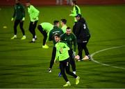 18 November 2018; Harry Arter, centre, and Shane Duffy share a joke during a Republic of Ireland training session at Ceres Park in Aarhus, Denmark. Photo by Stephen McCarthy/Sportsfile