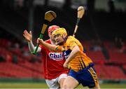 18 November 2018; Mikey O'Neill of Clare in action against Luke Meade of Cork during the Aer Lingus Fenway Hurling Classic 2018 semi-final match between Clare and Cork at Fenway Park in Boston, MA, USA. Photo by Piaras Ó Mídheach/Sportsfile