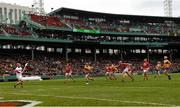 18 November 2018; Shane O'Donnell of Clare scores a goal past Anthony Nash of Cork during the Aer Lingus Fenway Hurling Classic 2018 semi-final match between Clare and Cork at Fenway Park in Boston, MA, USA. Photo by Piaras Ó Mídheach/Sportsfile