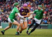 18 November 2018; Jack O Connor of Wexford in action against Kyle Hayes, left, and Richie English of Limerick during the Aer Lingus Fenway Hurling Classic 2018 semi-final match between Limerick and Wexford at Fenway Park in Boston, MA, USA. Photo by Piaras Ó Mídheach/Sportsfile