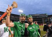 18 November 2018; Limerick's Aaron Gillane, left, and Cian Lynch celebrate after winning the Aer Lingus Fenway Hurling Classic 2018 Final match between Cork and Limerick at Fenway Park in Boston, MA, USA. Photo by Piaras Ó Mídheach/Sportsfile