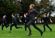 19 November 2018; John Mayock, project manager at INEOS, taking part in The Daily Mile with students from Scoil na Mainistreach at The Daily Mile Launch Kildare in Scoil Na Mainistreach, Celbridge, Co Kildare. Photo by Eóin Noonan/Sportsfile