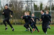 19 November 2018; Athlete David Williams, left, taking part in The Daily Mile with students from Scoil na Mainistreach at The Daily Mile Launch Kildare in Scoil Na Mainistreach, Celbridge, Co Kildare. Photo by Eóin Noonan/Sportsfile