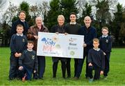 19 November 2018; Anthony White, Manager of The Daily Mile, The Daily Mile Irish Ambassador Frank Greally, The Daily Mile founder Elaine Wyllie, Nick Skelly, Athletics Ireland, Ray D'Arcy, RTE Radio DJ with students from Scoil Na Mainistreach, from left, Ryan Garrahie, age 10, from Celbridge, Kildare, Daniel Connelly, age 10, from Celbridge, Kildare, Mateusz Stawski, age 12, from Celbridge Kildare and Adam Bradley, age 11, from Celbridge, Kildare, at The Daily Mile Launch Kildare at Scoil Na Mainistreach in Celbridge, Co Kildare. Photo by Eóin Noonan/Sportsfile