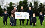 19 November 2018; In attendance at the launch is, The Daily Mile Irish Ambassador Frank Greally, The Daily Mile founder Elaine Wyllie, Ray D'Arcy, RTE Radio DJ with students from Scoil Na Mainistreach, from left, Ryan Garrahie, age 10, from Celbridge, Kildare, Daniel Connelly, age 10, from Celbridge, Kildare, Mateusz Stawski, age 12, from Celbridge Kildare and Adam Bradley, age 11, from Celbridge, Kildare, at The Daily Mile Launch Kildare at Scoil Na Mainistreach in Celbridge, Co Kildare. Photo by Eóin Noonan/Sportsfile