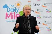 19 November 2018; The Daily Mile founder Elaine Wyllie speaking at The Daily Mile Launch Kildare at Scoil Na Mainistreach in Celbridge, Co Kildare. Photo by Eóin Noonan/Sportsfile