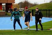 19 November 2018; Ian Keatley, Jeremy Loughman, and Chris Cloete make their way out for Munster Rugby squad training at the University of Limerick in Limerick. Photo by Diarmuid Greene/Sportsfile