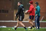 19 November 2018; JJ Hanrahan, Bill Johnston, and Ian Keatley during Munster Rugby squad training at the University of Limerick in Limerick. Photo by Diarmuid Greene/Sportsfile