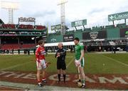 18 November 2018; Referee Seán Cleere with team captains Bill Cooper of Cork and Declan Hannon  of Limerick before the Aer Lingus Fenway Hurling Classic 2018 Final match between Cork and Limerick at Fenway Park in Boston, MA, USA. Photo by Piaras Ó Mídheach/Sportsfile