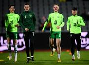 19 November 2018; Callum O'Dowda, left, with, from left to right, Shaun Williams, Aiden O'Brien and Scott Hogan of Republic of Ireland warm up prior to the UEFA Nations League B match between Denmark and Republic of Ireland at Ceres Park in Aarhus, Denmark. Photo by Stephen McCarthy/Sportsfile