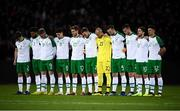 19 November 2018; The Republic of Ireland team during a minute's silence prior to the UEFA Nations League B match between Denmark and Republic of Ireland at Ceres Park in Aarhus, Denmark. Photo by Stephen McCarthy/Sportsfile
