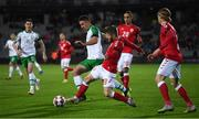 19 November 2018; Enda Stevens of Republic of Ireland in action against Lasse Schöne of Denmark during the UEFA Nations League B match between Denmark and Republic of Ireland at Ceres Park in Aarhus, Denmark. Photo by Stephen McCarthy/Sportsfile