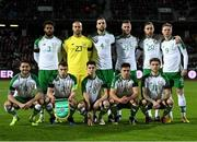 19 November 2018; The Republic of Ireland team, back row, Cyrus Christie, Darren Randolph, Shane Duffy, Kevin Long, Richard Keogh and Aiden O'Brien, front row, Robbie Brady, Seamus Coleman, Callum O'Dowda, Enda Stevens and Jeff Hendrick prior to the UEFA Nations League B match between Denmark and Republic of Ireland at Ceres Park in Aarhus, Denmark. Photo by Stephen McCarthy/Sportsfile
