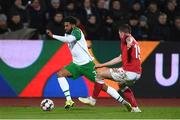 19 November 2018; Cyrus Christie of Republic of Ireland in action against Pierre Emile Højbjerg of Denmark during the UEFA Nations League B match between Denmark and Republic of Ireland at Ceres Park in Aarhus, Denmark. Photo by Stephen McCarthy/Sportsfile