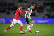19 November 2018; Jeff Hendrick of Republic of Ireland in action against Lasse Schöne of Denmark during the UEFA Nations League B match between Denmark and Republic of Ireland at Ceres Park in Aarhus, Denmark. Photo by Stephen McCarthy/Sportsfile