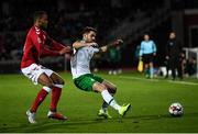 19 November 2018; Robbie Brady of Republic of Ireland in action against Mathias Jørgensen of Denmark during the UEFA Nations League B match between Denmark and Republic of Ireland at Ceres Park in Aarhus, Denmark. Photo by Stephen McCarthy/Sportsfile