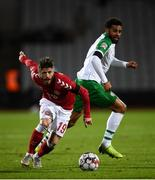 19 November 2018; Lasse Schöne of Denmark in action against Cyrus Christie of Republic of Ireland during the UEFA Nations League B match between Denmark and Republic of Ireland at Ceres Park in Aarhus, Denmark. Photo by Stephen McCarthy/Sportsfile