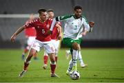 19 November 2018; Cyrus Christie of Republic of Ireland in action against Jonas Knudsen of Denmark during the UEFA Nations League B match between Denmark and Republic of Ireland at Ceres Park in Aarhus, Denmark. Photo by Stephen McCarthy/Sportsfile