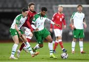 19 November 2018; Cyrus Christie, right, and Callum O'Dowda of Republic of Ireland in action against Lasse Schöne of Denmark during the UEFA Nations League B match between Denmark and Republic of Ireland at Ceres Park in Aarhus, Denmark. Photo by Stephen McCarthy/Sportsfile