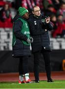 19 November 2018; Michael Obafemi of Republic of Ireland with manager Martin O'Neill during the UEFA Nations League B match between Denmark and Republic of Ireland at Ceres Park in Aarhus, Denmark. Photo by Stephen McCarthy/Sportsfile