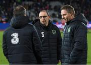 19 November 2018; Republic of Ireland manager Martin O'Neill, centre, with assistant manager Roy Keane, left, and coach Steve Guppy after the UEFA Nations League B match between Denmark and Republic of Ireland at Ceres Park in Aarhus, Denmark. Photo by Stephen McCarthy/Sportsfile