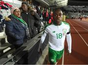 19 November 2018; Michael Obafemi of Republic of Ireland with his mother Bola and brother Affy after the UEFA Nations League B match between Denmark and Republic of Ireland at Ceres Park in Aarhus, Denmark. Photo by Stephen McCarthy/Sportsfile