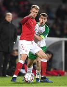 19 November 2018; Nicolai Jørgensen of Denmark in action against Seamus Coleman of Republic of Ireland during the UEFA Nations League B match between Denmark and Republic of Ireland at Ceres Park in Aarhus, Denmark. Photo by Stephen McCarthy/Sportsfile