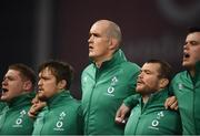17 November 2018; Ireland players, from left, Tadhg Furlong, Andrew Porter, Devin Toner, Jack McGrath and James Ryan sing the National Anthem prior to the Guinness Series International match between Ireland and New Zealand at the Aviva Stadium in Dublin. Photo by David Fitzgerald/Sportsfile
