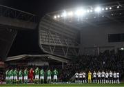 18 November 2018; Both teams take part in a minutes applause for former Northern Ireland kit man Derek McKinley prior to the UEFA Nations League match between Northern Ireland and Austria at the National Football Stadium in Windsor Park, Belfast. Photo by David Fitzgerald/Sportsfile