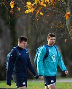 20 November 2018; Jacob Stockdale, left, and Ross Byrne arrive for Ireland Rugby squad training at Carton House in Maynooth, Co Kildare. Photo by Ramsey Cardy/Sportsfile