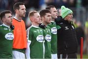 18 November 2018; The Gaoth Dobhair players, including Neil McGee on the end, stand for the national anthem before the AIB Ulster GAA Football Senior Club Championship semi-final match between Crossmaglen Rangers and Gaoth Dobhair at Healy Park in Omagh, Tyrone. Photo by Oliver McVeigh/Sportsfile