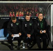19 November 2018; Republic of Ireland manager Martin O'Neill, right, and his assistants Steve Guppy, left, and Roy Keane during the UEFA Nations League B group four match between Denmark and Republic of Ireland at Ceres Park in Aarhus, Denmark. Photo by Stephen McCarthy/Sportsfile