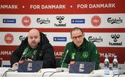 19 November 2018; Republic of Ireland manager Martin O'Neill and media officer Gareth Maher, left, during a press conference following the UEFA Nations League B group four match between Denmark and Republic of Ireland at Ceres Park in Aarhus, Denmark. Photo by Stephen McCarthy/Sportsfile