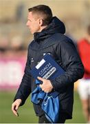 18 November 2018; Scotstown manager Kieran Donnelly and his coaching manual before the AIB Ulster GAA Football Senior Club Championship semi-final match between Eoghan Rua Coleraine and Scotstown at Healy Park in Omagh, Tyrone. Photo by Oliver McVeigh/Sportsfile