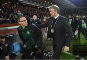 19 November 2018; Republic of Ireland manager Martin O'Neill and Denmark manager Aage Hareide prior to the UEFA Nations League B group four match between Denmark and Republic of Ireland at Ceres Park in Aarhus, Denmark. Photo by Stephen McCarthy/Sportsfile