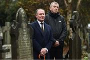 21 November 2018; Dublin senior football manager Jim Gavin, left, and John Costello, Dublin GAA Chief Executive, during the unveiling of a memorial headstone to Bloody Sunday victim John William Scott who was shot and killed aged 14 at Croke Park at Glasnevin Cemetery in Dublin. Photo by David Fitzgerald/Sportsfile