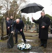 21 November 2018; Uachtarán Chumann Lúthchleas Gael John Horan, centre, with Monsignor Eoin Thynne, right, and Dublin senior football manager Jim Gavin, left, with John Costello, Dublin GAA Chief Executive, during the unveiling of a memorial headstone to Bloody Sunday victim John William Scott who was shot and killed aged 14 at Croke Park at Glasnevin Cemetery in Dublin. Photo by David Fitzgerald/Sportsfile