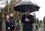 21 November 2018; Uachtarán Chumann Lúthchleas Gael John Horan, right, Dublin senior football manager Jim Gavin and John Costello, Dublin GAA Chief Executive, during the unveiling of a memorial headstone to Bloody Sunday victim John William Scott who was shot and killed aged 14 at Croke Park at Glasnevin Cemetery in Dublin. Photo by David Fitzgerald/Sportsfile