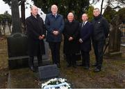 21 November 2018; In attendance, from left, Monsignor Eoin Thynne, Uachtarán Chumann Lúthchleas Gael John Horan, Dublin GAA chairman Sean Shanley, Dublin senior football manager Jim Gavin and John Costello, Dublin GAA Chief Executive at the unveiling of a memorial headstone to Bloody Sunday victim John William Scott who was shot and killed aged 14 at Croke Park at Glasnevin Cemetery in Dublin. Photo by David Fitzgerald/Sportsfile