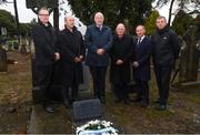 21 November 2018; In attendance, from left, GAA Communications Executive Cian Murphy, Monsignor Eoin Thynne, Uachtarán Chumann Lúthchleas Gael John Horan, Dublin GAA chairman Sean Shanley, Dublin senior football manager Jim Gavin and John Costello, Dublin GAA Chief Executive at the unveiling of a memorial headstone to Bloody Sunday victim John William Scott who was shot and killed aged 14 at Croke Park at Glasnevin Cemetery in Dublin. Photo by David Fitzgerald/Sportsfile
