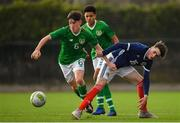 16 November 2018; Colin Conroy of Republic of Ireland in action against Kevin Hanratty of Scotland during the U16 Victory Shield match between Republic of Ireland and Scotland at Mounthawk Park in Tralee, Kerry. Photo by Brendan Moran/Sportsfile