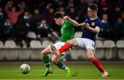 16 November 2018; Louie Barry of Republic of Ireland in action against Leon King of Scotland during the U16 Victory Shield match between Republic of Ireland and Scotland at Mounthawk Park in Tralee, Kerry. Photo by Brendan Moran/Sportsfile