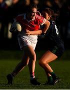 18 November 2018; Áine McElroy of Donaghmoyne in action against Tarah O'Sullivan of Foxrock-Cabinteely during the All-Ireland Ladies Senior Club Football Championship Semi-Final 2018 match between Foxrock-Cabinteely and Donaghmoyne at Bray Emmets GAA Club in Bray, Wicklow. Photo by Brendan Moran/Sportsfile