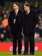 17 November 2018; New Zealand defence coach Scott McLeod, left, and head coach Steve Hansen prior to the Guinness Series International match between Ireland and New Zealand at Aviva Stadium, Dublin. Photo by Brendan Moran/Sportsfile